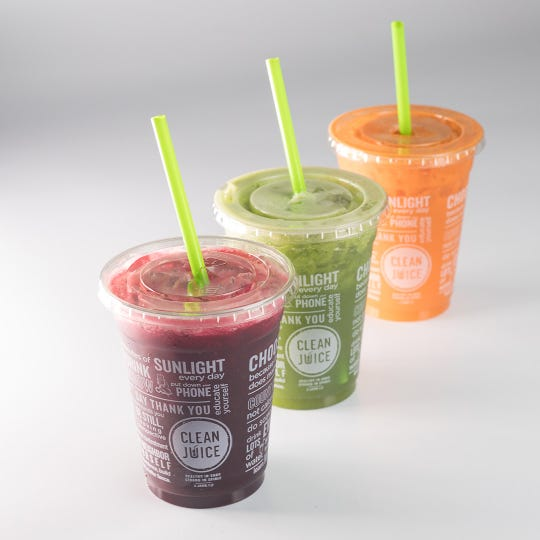 Fruit- and vegetable-based smoothies, including the Simple One, the Tropical One and the Creamsicle One, are available at Clean Juice.