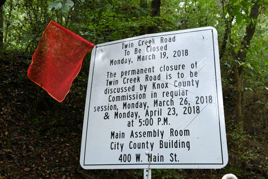 Sign along Twin Creek Road, which is closed after Harris Chapel Baptist Church made an agreement with the Knox County to clean up and maintain the road to keep it open Monday, Sept. 24, 2018.