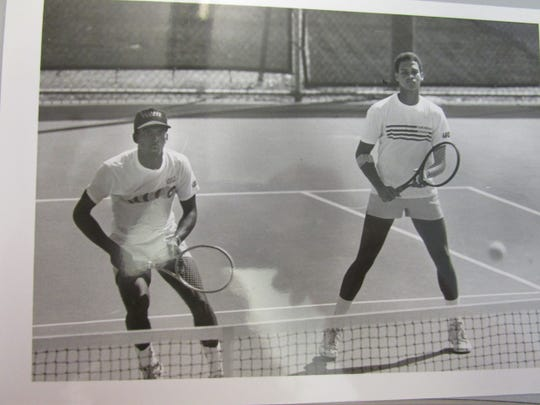 Patrick Minnis during a tennis match when he played for UL Lafayette then USL.