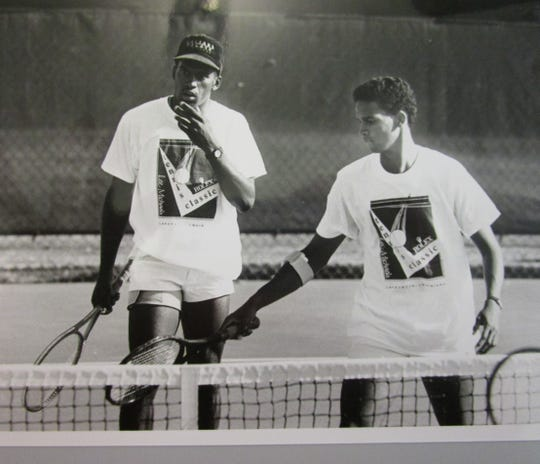 Patrick Minnis during his tennis playing days at USL.