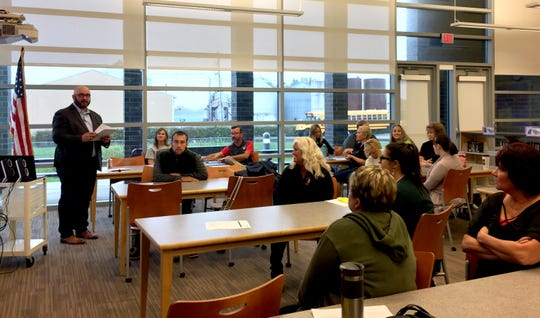 Dennis Lowe, commander of the Major Crimes Unit, talks to a employees from six Fairfield County school districts Monday, Sept. 24, 2018, at Bloom-Carroll Middle School in Carroll.