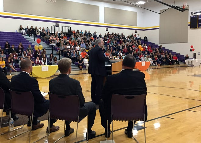 Paolo DeMaria, superintendent of public instruction for the Ohio Department of Education, speaks at a meeting of employees from six county school districts Monday, Sept. 24, 2018, at Bloom-Carroll Middle School in Carroll.