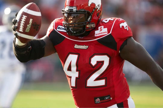 Mike Labinjo was considered a fan favorite when he played for the Calgary Stampeders. His team won the Grey Cup in 2008.