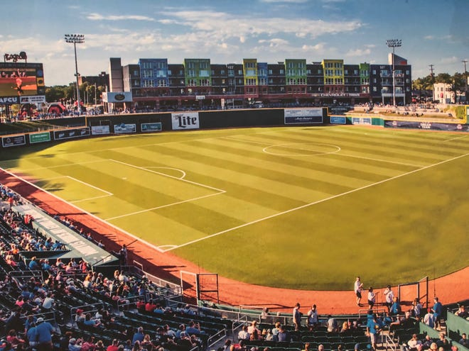 A rendering of what soccer will look like at Cooley Law School Stadium.