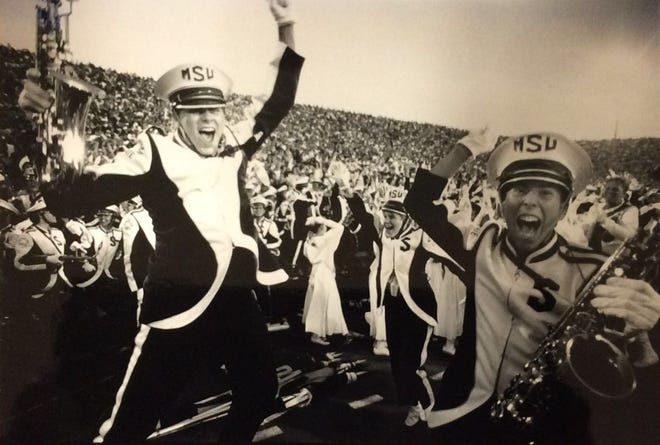 MSU Marching Band members go wild as U-M's last ditch effort to win was futile, October 1990.