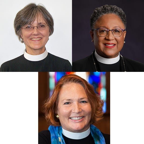 Three candidates have been named as options to succeed the Rt. Rev. Don Johnson, who plans to resign next year. They are, clockwise from top left, the Rev. Marian Dulaney Fortner; the Rev. Phoebe A. Roaf; and the Rev. Sarah D. Hollar.