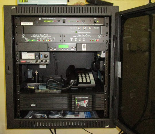 The electronics are the heart of the $20,000 emergency broadcast system. The Marco Island Police Dept. is on the air with their low-power AM radio broadcasts, aimed at getting safety information out to island residents.