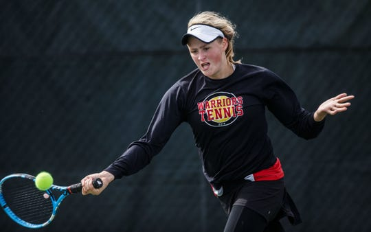 Muskego No. 1 singles player Elizabeth Sobieski competes in the Dick Arnold Tennis Championship in Waukesha on Saturday, Sept. 22, 2018.