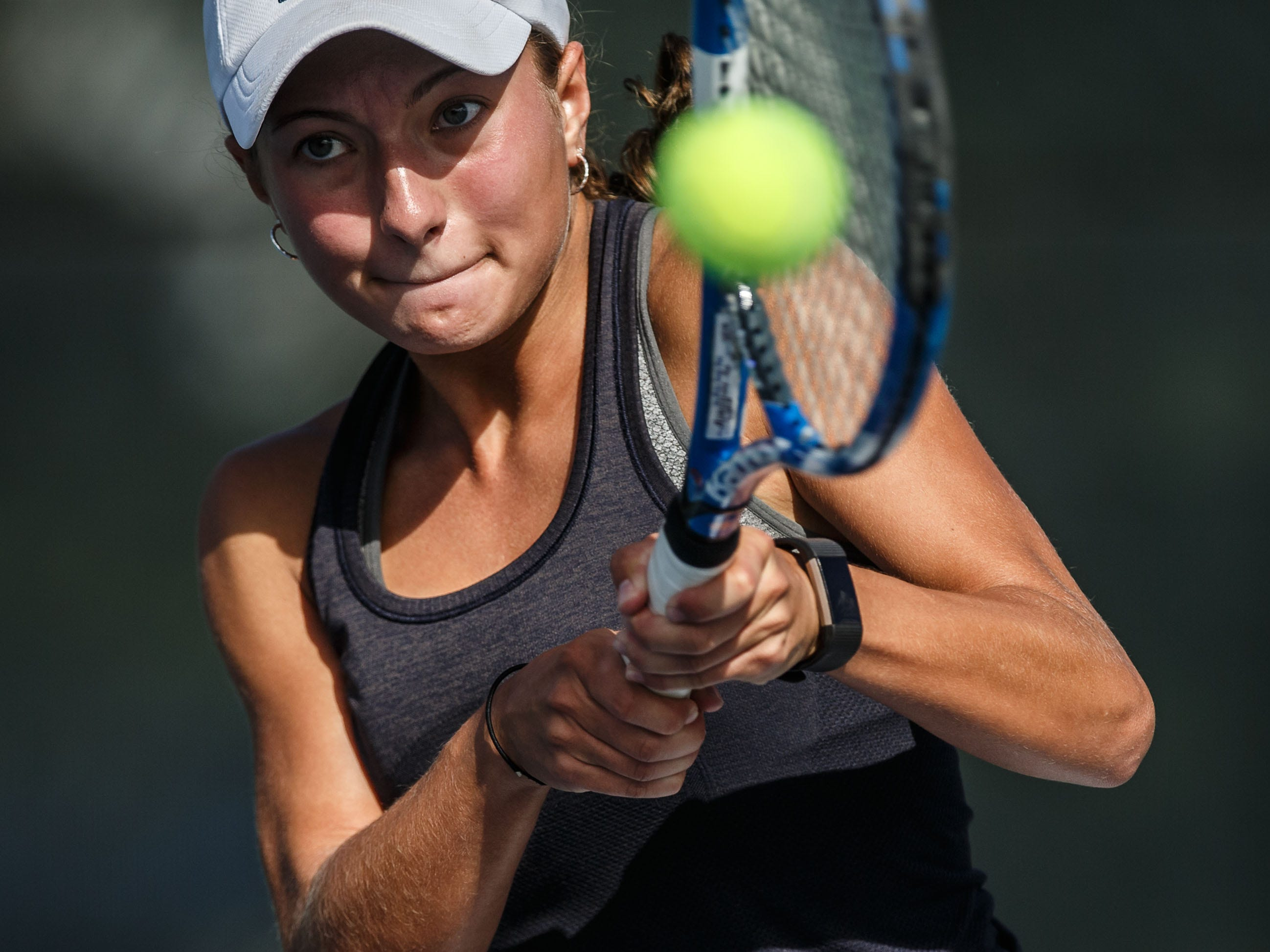 Kettle Moraine No. 1 doubles player Taylor Meeth competes in the Dick Arnold Tennis Championship in Waukesha on Saturday, Sept. 22, 2018. Meeth and teammate Rachel Vande Moore won the No. 1 doubles flight.