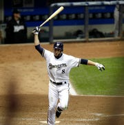 Ryan Braun celebrates his with a three run homer in the bottom of the 8th. The Milwaukee Brewers face the Florida Marlins at Miller Park Friday September 23, 2011.