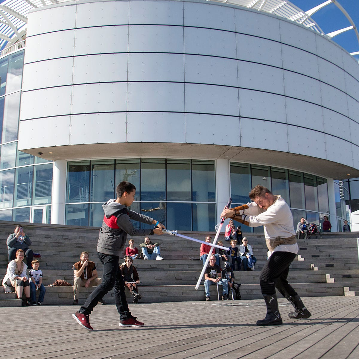 There's plenty to learn at Discovery World on Sci-Fi Family Day, such as how to have lightsaber battles from E.D.G.E. of Orion.