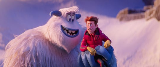 "Migo (left, voiced by Channing Tatum) and Percy (James Corden) come to terms in ""Smallfoot."""