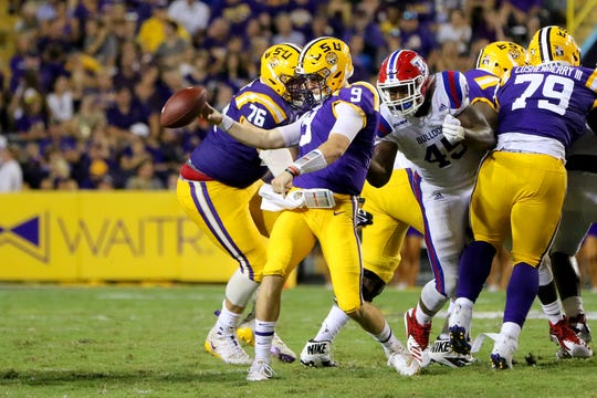 Louisiana Tech redshirt senior defensive end Jaylon Ferguson (45) helped lead his team's rally at No. 5 LSU.