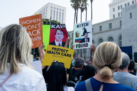 Protesters took to the streets to protest Donald Trump's nomination of Brett Kavanaugh to the Supreme Court.