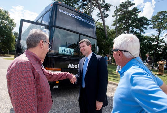 Democratic gubernatorial nominee Walt Maddox greets supporters after he holds a press conference front of the  Montgomery Area Mental Health Authority office in Montgomery, Ala., as he campaigns across the state on his bus tour on Monday September 24, 2018.