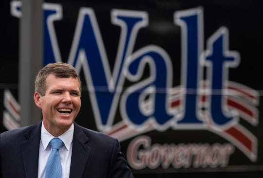 Democratic gubernatorial nominee Walt Maddox holds a press conference front of the Montgomery Area Mental Health Authority office in Montgomery, Ala., as he campaigns across the state on his bus tour on Monday September 24, 2018.