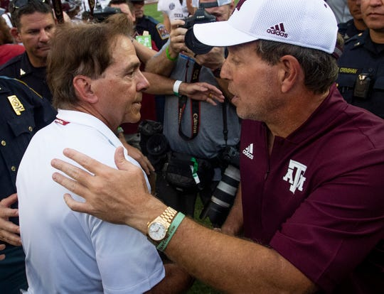 Alabama head coach Nick Saban and Texas A&M head coach Jimbo Fisher meet at. mid field after Alabama defeated Texas A&M in Tuscaloosa, Ala., on Saturday September 22, 2018.