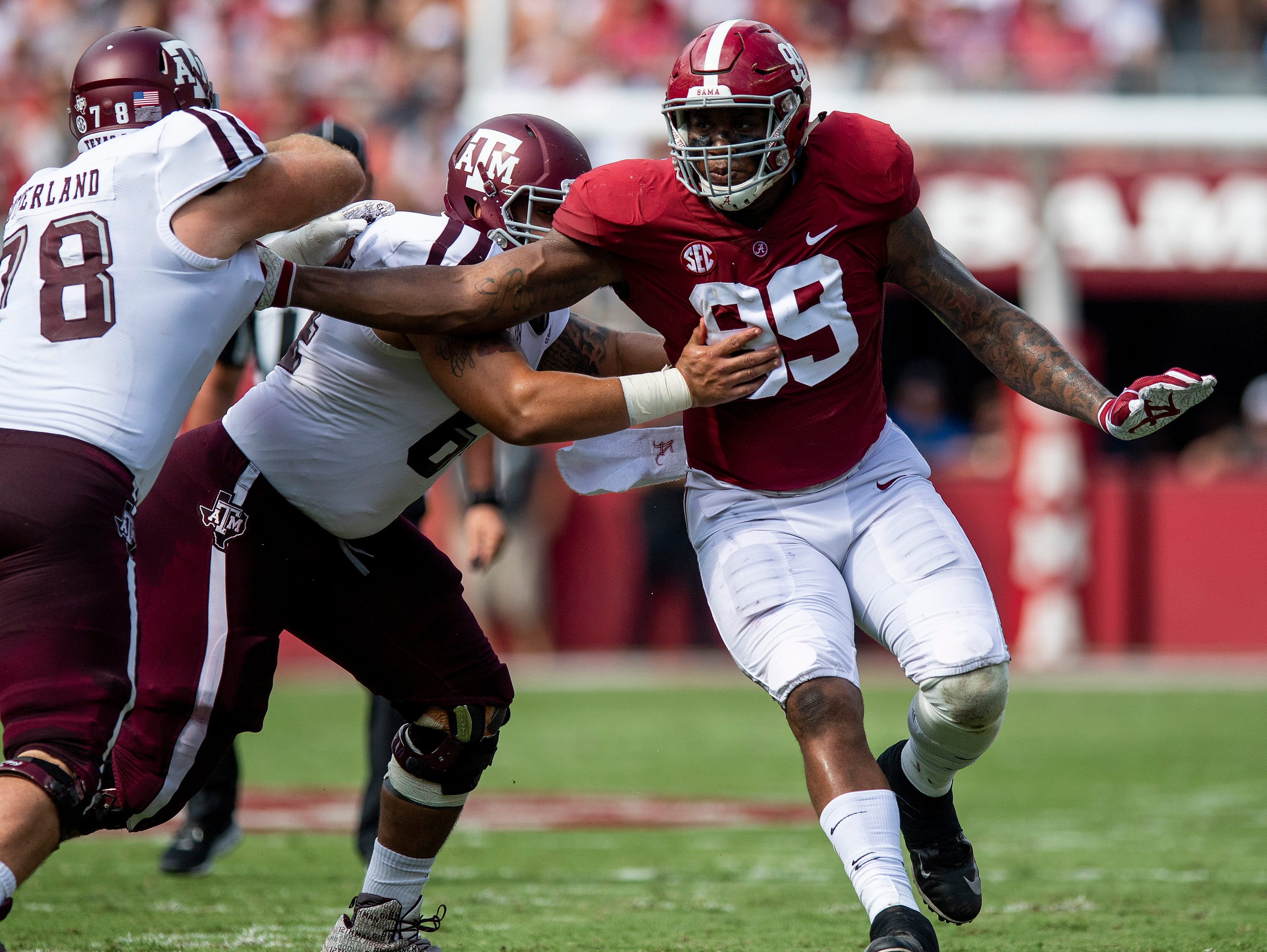 Alabama defensive lineman Raekwon Davis (99) in first half action Texas A&M in Tuscaloosa, Ala., on Saturday September 22, 2018.