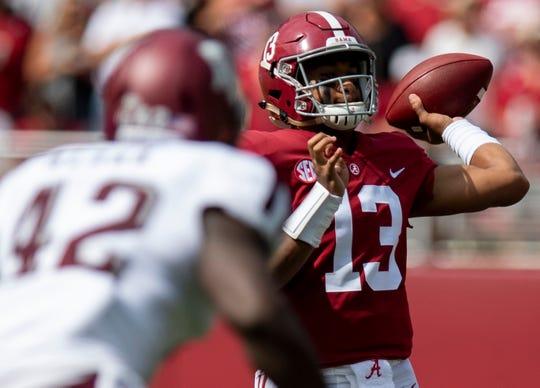 Alabama quarterback Tua Tagovailoa (13) throws against Texas A&M in first half action in Tuscaloosa, Ala., on Saturday September 22, 2018.