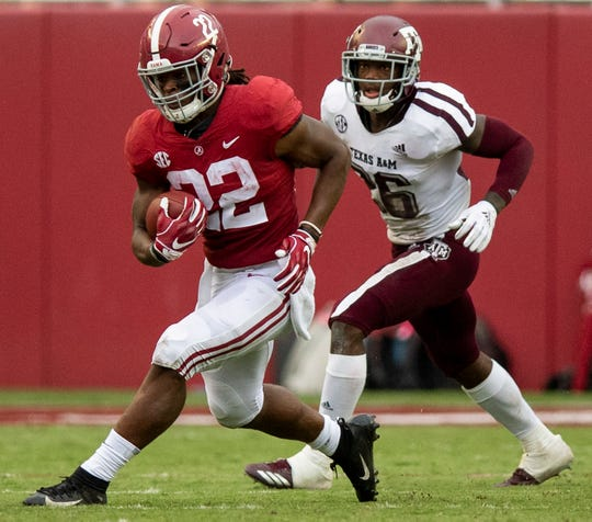 Alabama running back Najee Harris (22) in second half action against Texas A&M in Tuscaloosa, Ala., on Saturday September 22, 2018.