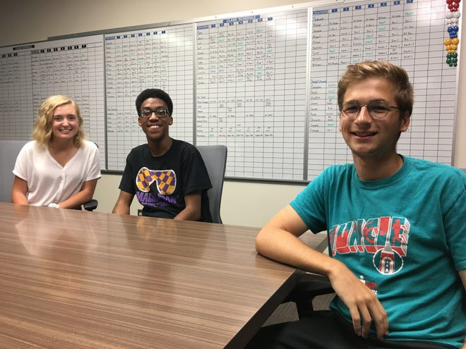 Central High School students Allison Polk, Laurenz Sims-Jones (center) and George Schafer pose after a newspaper interview at the school recently.