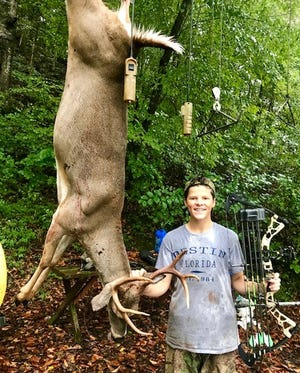 Johno Parker of Nashville killed this 8-point buck during the opening weekend (archery-only) of hunting season in Tennessee.