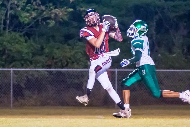 Cheatham County's Joe Mosley with a nice downfield catch late in the game to set up a touchdown.