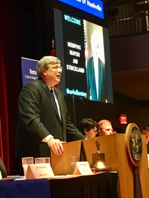 Memphis Mayor Jim Strickland speaking to the Nashville Rotary Club in downtown Nashville