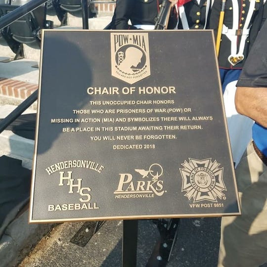 The baseball fields at Drakes Creek Park in Hendersonville now has a Chair of Honor for those who are Prisoners of War and Missing in Action.
