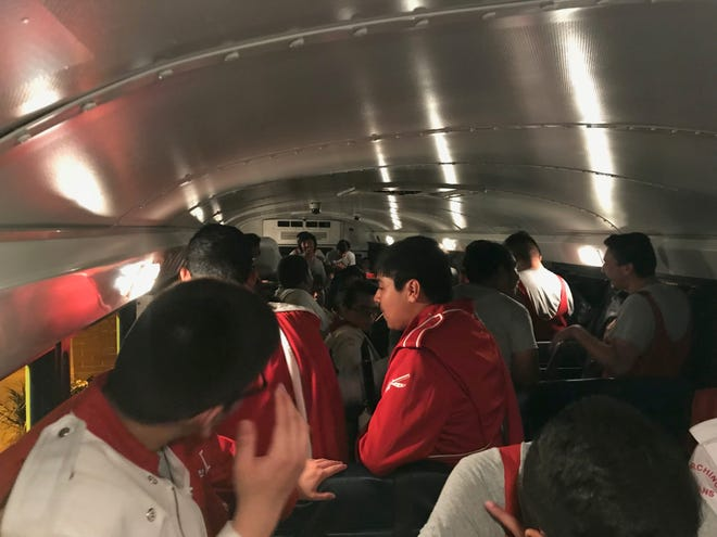 Immokalee High School band members were stuck on a bus for about two hours during a lightning delay before a football game at Naples High School on Friday, Sept. 21, 2018.