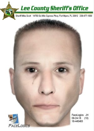 Composite sketch of a man suspected in an attempted kidnapping at an Estero apartment complex on Sunday, Sept. 23, 2018.