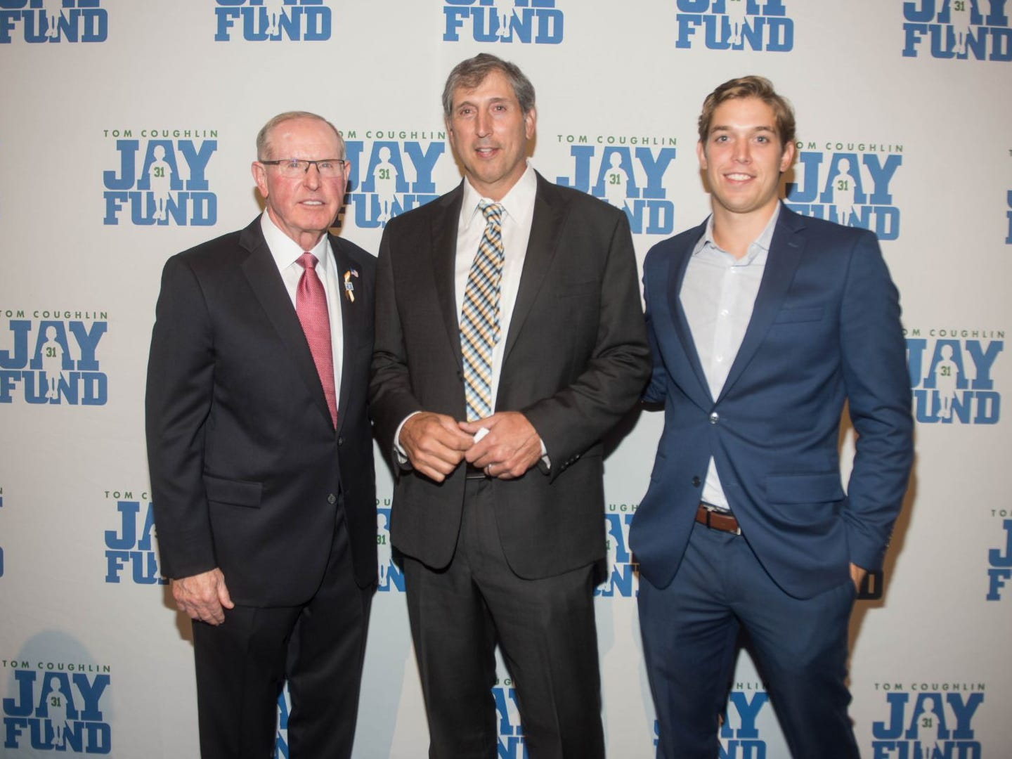Tom Coughlin, Mark Bavaro and Lucas Bavaro. The 14th annual Jay Fund Champions for Children Gala was held at Cipriani 42nd Street. 09/21/2018