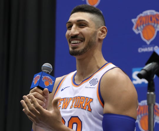 Enes Kanter during media day at the Knicks training facility in Tarrytown Sept. 24, 2018.