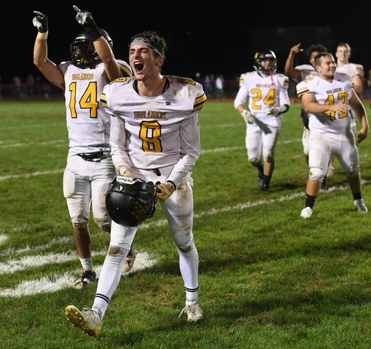 West Milford at Lakeland on Friday, September 21, 2018. WM #8 Adam Rust and #14 Dan DiMinno celebrate defeating Lakeland.