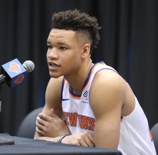 Kevin Knox during media day at the Knicks training facility in Tarrytown Sept. 24, 2018.