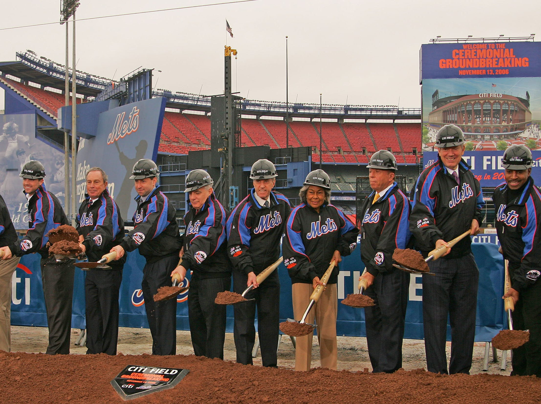 Participants in the Mets groundbreaking ceremony, from left, Jose Reyes, Sheldon Silver, David Wright, New York City Mayor Michael Bloomberg, New York Mets Execitive Vice President Jeff Wilpon, Lewis Kaden of Citigroup, New York Mets Chairman and CEO Fred Wilpon, founder of the Jackie Robinson foundation Rachel Robinson, Saul Katz, New York State Governor George Pataki and Mets Manager Willie Randolph, break ground for cameras at the site of the new Mets stadium in New York, Monday, Nov. 13, 2006.     (AP Photo/Ed Betz)