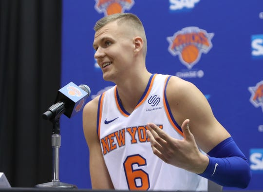 Kristaps Porzingis during media day at the Knicks training facility in Tarrytown Sept. 24, 2018.