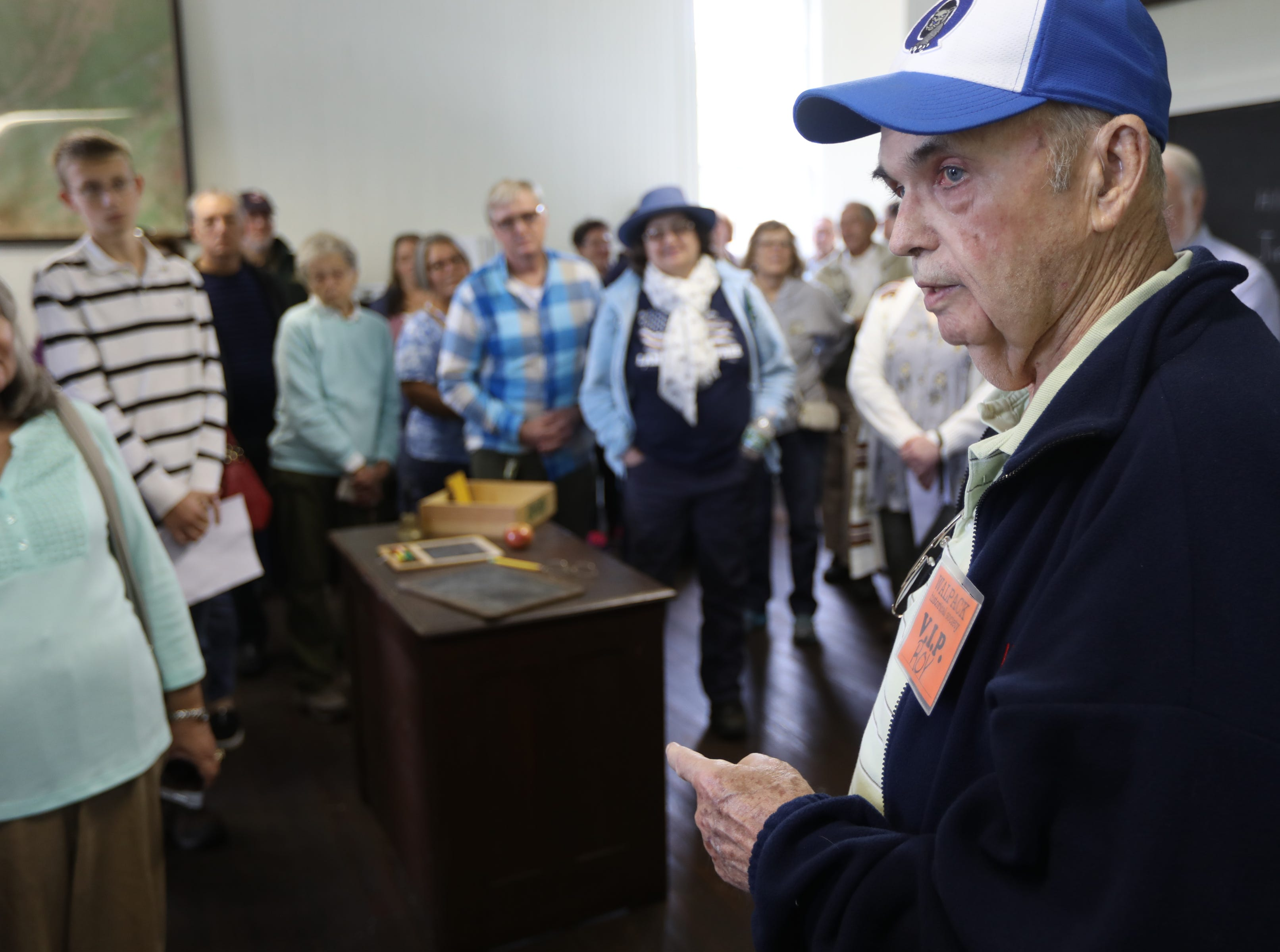 Roy Aber, 82, currently of Allentown, PA, speaks to people inside the Walpack School.  Aber attended the school from first grade until 1950, when he finished eighth grade.  His father was a teacher at the time inside the school that was built in the 1890s. Sunday, September 23, 2018