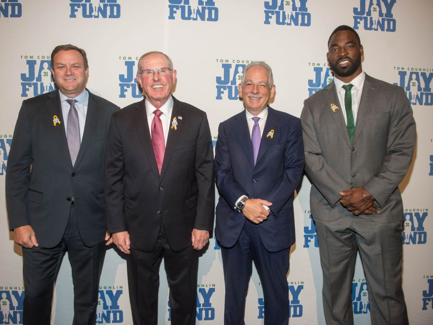 Mark Lazarus, Tom Coughlin, Dr. Steven J. Corwin and Justin Tuck. The 14th annual Jay Fund Champions for Children Gala was held at Cipriani 42nd Street. 09/21/2018