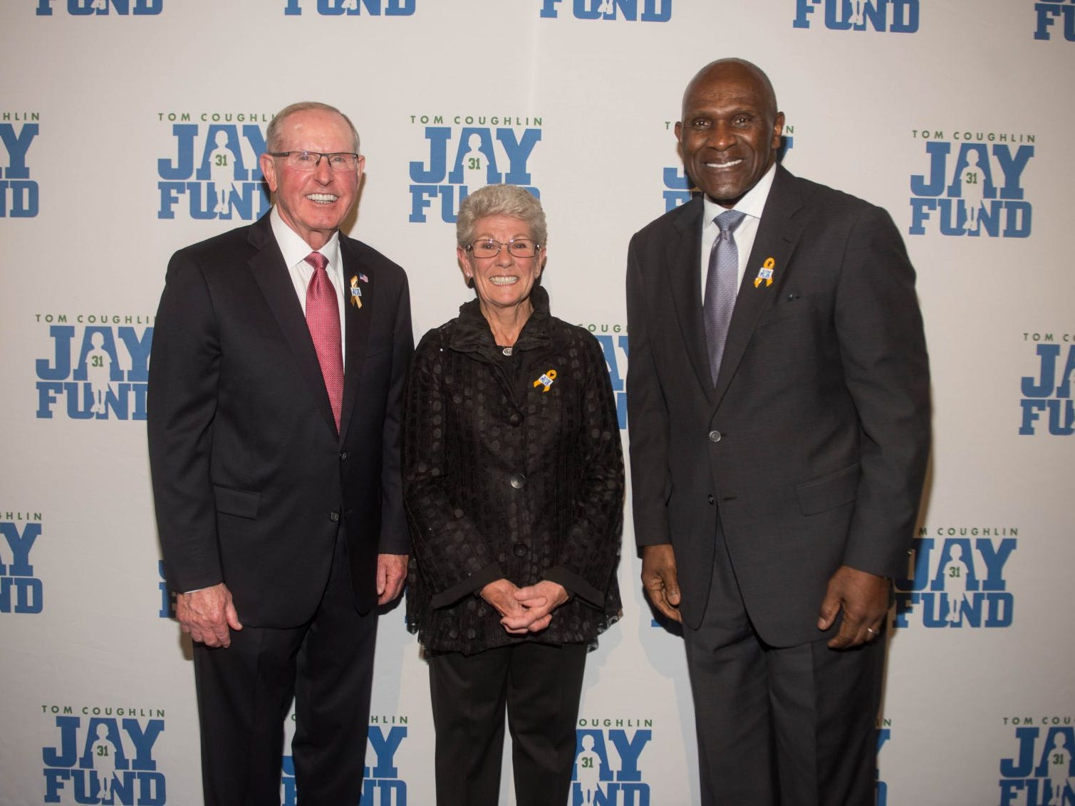 Tom Coughlin, Judy Coughlin and Harry Carson. The 14th annual Jay Fund Champions for Children Gala was held at Cipriani 42nd Street. 09/21/2018