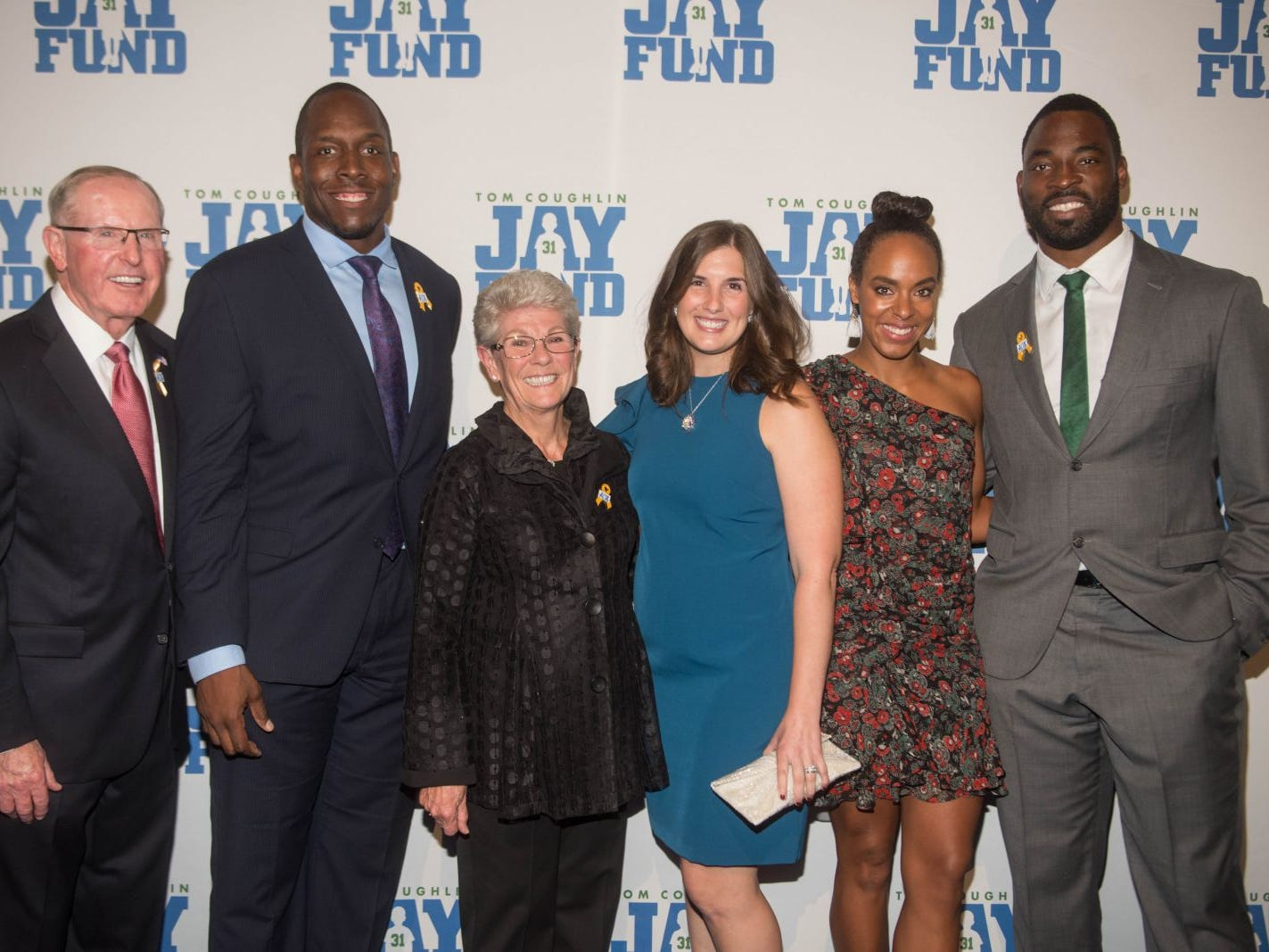 Tom Coughlin, Kevin Boothe, Judy Coughlin, Rosalie Boothe, Lauran Williamson Tuck and Justin Tuck. The 14th annual Jay Fund Champions for Children Gala was held at Cipriani 42nd Street. 09/21/2018