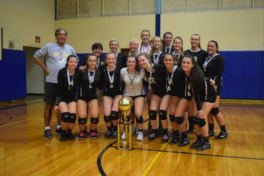 The River Dell girls volleyball team won the Clarkstown South Tournament in West Nyack, N.Y. on Saturday, Sept. 22, 2018. The Golden Hawks defeated NV/Demarest in the championship final, 25-21.