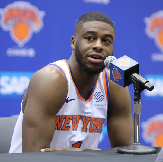 Emmanuel Mudiay during media day at the Knicks training facility in Tarrytown Sept. 24, 2018.