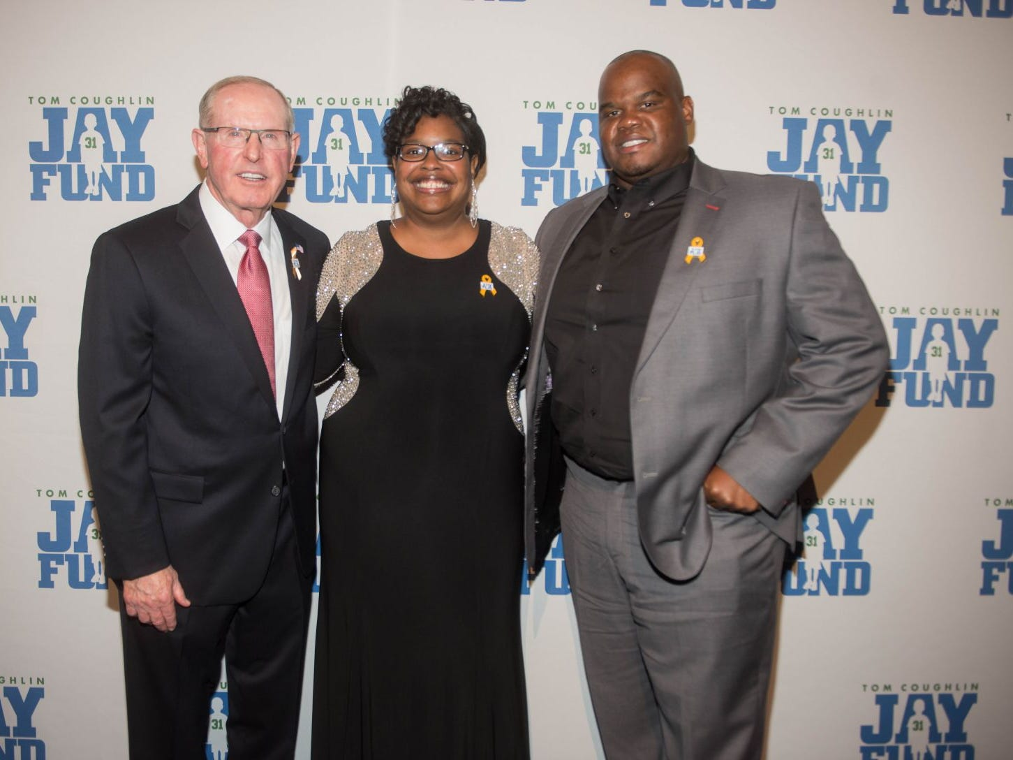 Tom Coughlin, Tiffany Wells and Lunda Wells. The 14th annual Jay Fund Champions for Children Gala was held at Cipriani 42nd Street. 09/21/2018