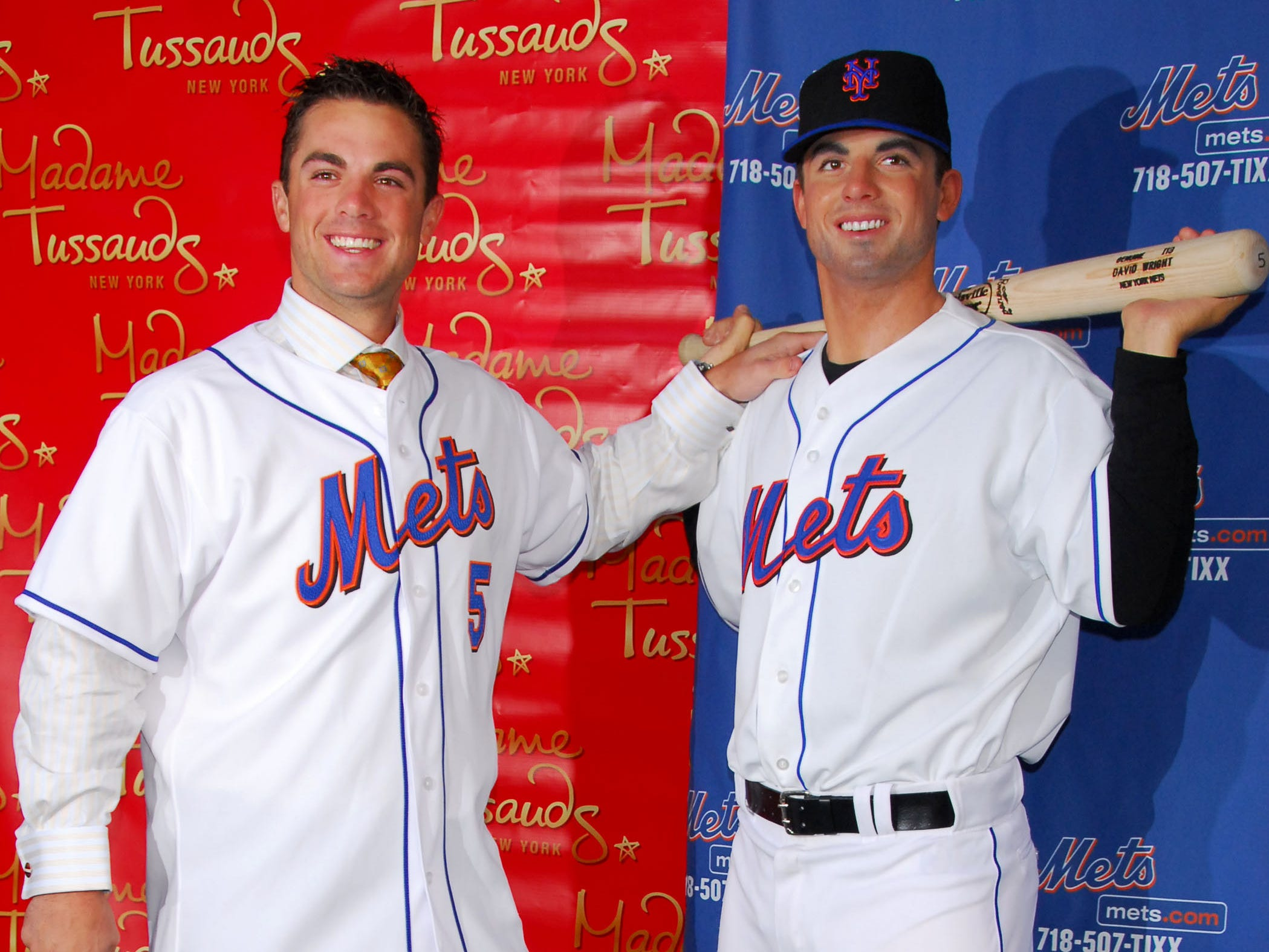 In this photo released by Madame Tussauds in New York, NY Mets third baseman David Wright, left, stands next to his wax likeness as it was unveiled at Madame Tussauds, Tuesday, April 10, 2007 in New York. (AP Photo/Madame Tassauds, Alex Oliveria) **NO SALES**