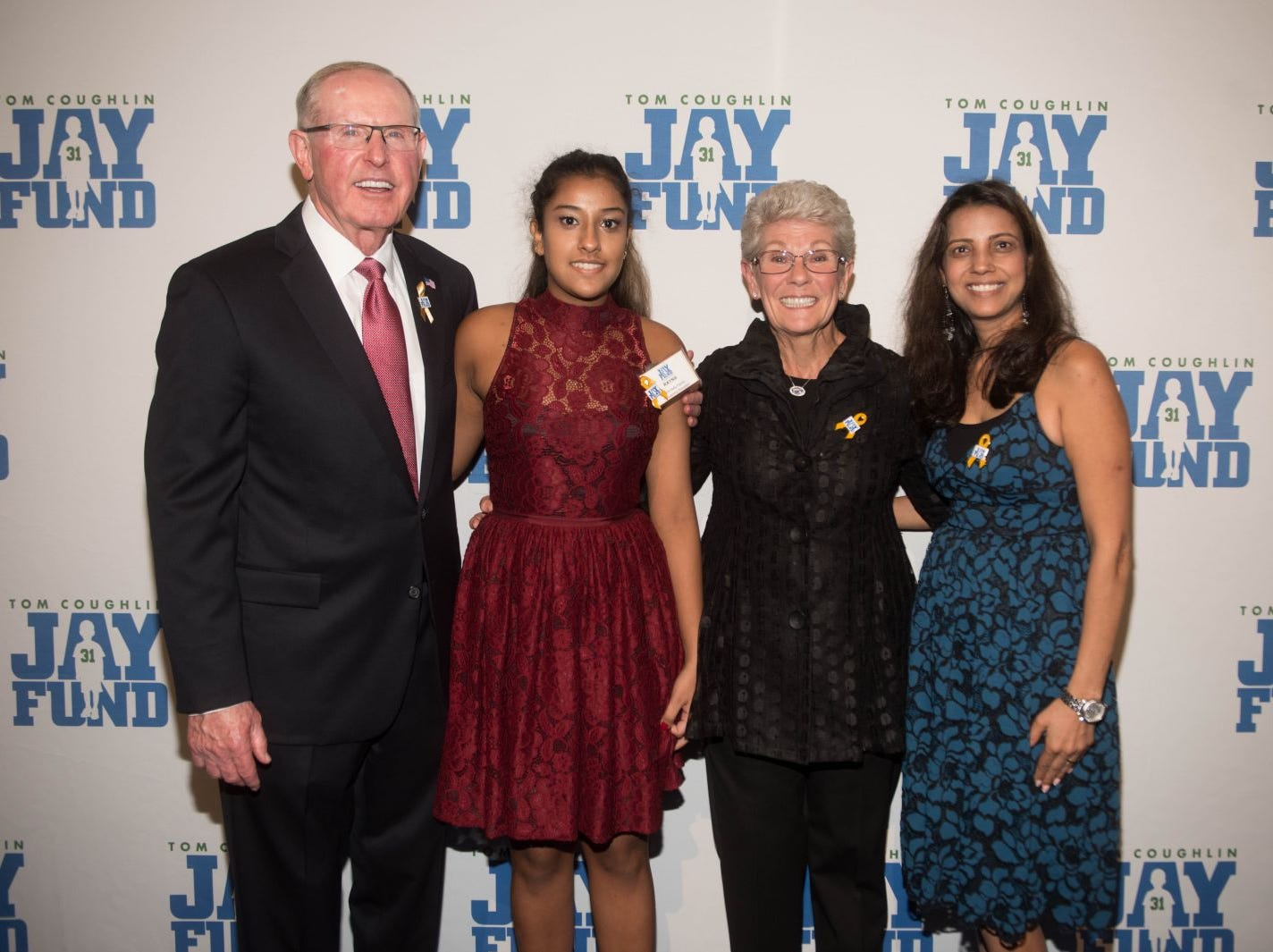 Tom Coughlin, Rayna Mehta, Judy Coughlin and Parul Mehta. The 14th annual Jay Fund Champions for Children Gala was held at Cipriani 42nd Street. 09/21/2018