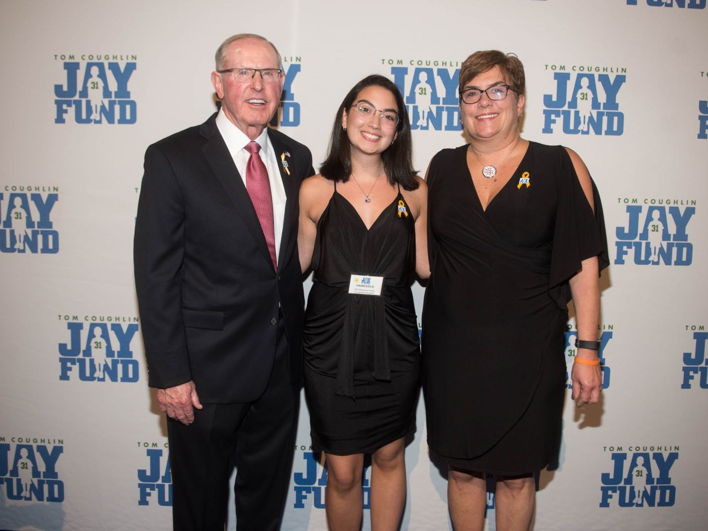 Tom Coughlin, Francesca Lentini and Nancy Lentini. The 14th annual Jay Fund Champions for Children Gala was held at Cipriani 42nd Street. 09/21/2018