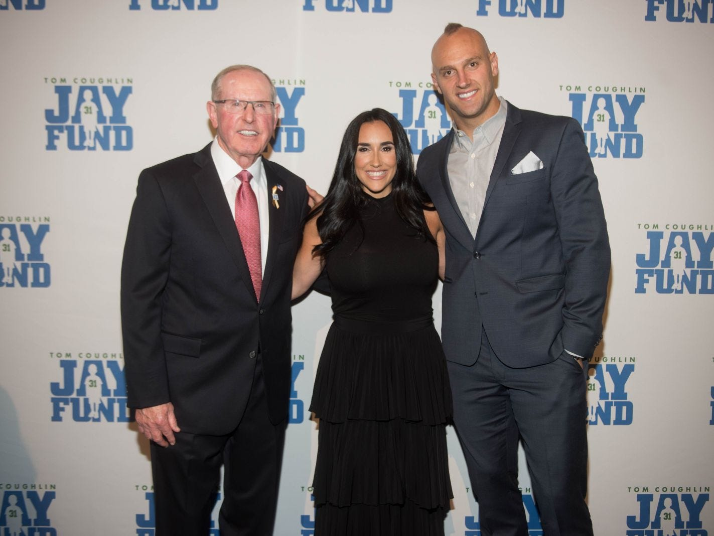 Tom Coughlin, Danielle Conti and Mark Herzlich. The 14th annual Jay Fund Champions for Children Gala was held at Cipriani 42nd Street. 09/21/2018
