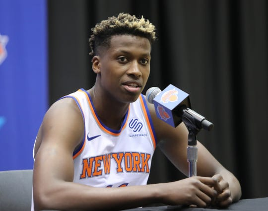 Frank Ntilikina during media day at the Knicks training facility in Tarrytown Sept. 24, 2018.