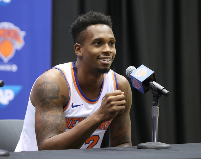 Lance Thomas during media day at the Knicks training facility in Tarrytown Sept. 24, 2018.